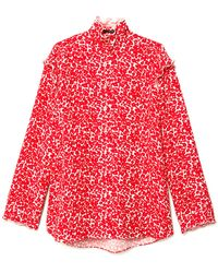 Co. - Button Down Blouse With Ruffle In White/crimson - Lyst