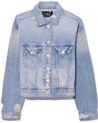 3x1 Oversized Classic Crop Jacket In Farrow - Blue