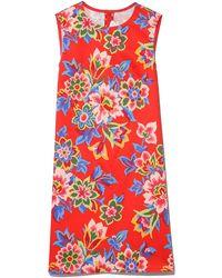 Carolina Herrera Floral-print Stretch-cotton Sheath Dress - Red