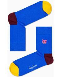 Happy Socks Embroidery Cat 1/2 Crew Sock - Azul