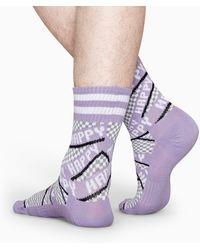 Happy Socks Athletic Ribbon Mid High Sock - Paars