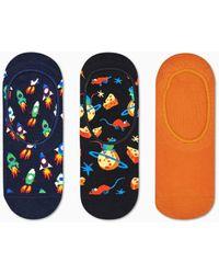 Happy Socks 3-pack Rocket Liner Sock - Oranje