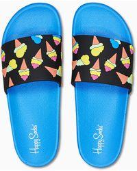 Happy Socks Pool Slider Ice Cream - Blauw