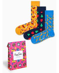 Happy Socks 3-pack Picnic Socks + Gift Bag - Meerkleurig