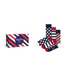 Happy Socks Stripe Gift Box 3-pack - Blauw