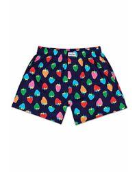Happy Socks Strawberry Boxer - Blauw