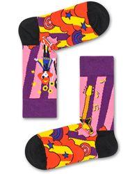 Happy Socks Linda And Johnny Purple Guitar Sock - Violet