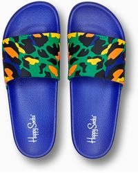 Happy Socks Pool Slider Leopard - Blauw