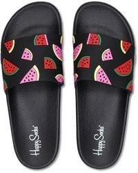 Happy Socks Pool Slider Watermelon - Noir