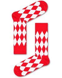 Happy Socks Red & White Diamond Sock - Rot