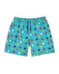Happy Socks Big Dot Long Swim Shorts - Blauw