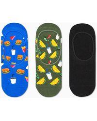 Happy Socks 3-pack Hamburger Liner Sock - Meerkleurig