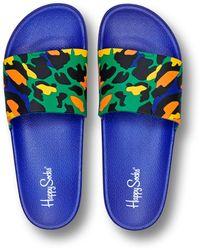 Happy Socks Pool Slider Leopard - Bleu