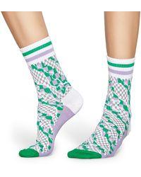 Happy Socks Athletic Workspace Mid High Sock - Grün