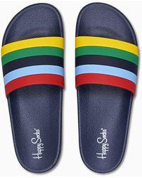 Happy Socks Pool Slider Stripe - Bleu
