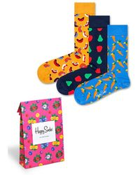 Happy Socks 3-Pack Picnic Socks + Gift bag - Orange