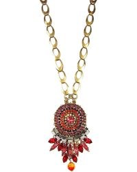 Vickisarge London Red Crystal Pendant Necklace