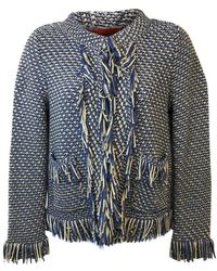 Carolina Herrera Fringed Edges Woven Jacket - Blue