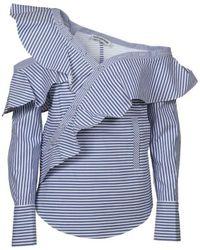 Self-Portrait Off-the-shoulder Ruffled Striped Cotton-poplin Top - Blue