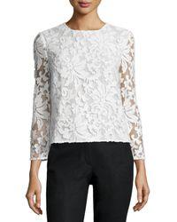 Diane von Furstenberg Dvf Belle Sequined Floral Top - White