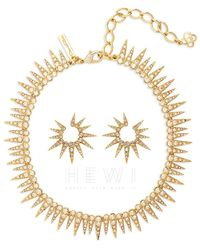 Oscar de la Renta Crystal Embellished Sea Urchin Necklace & Earrings - Metallic