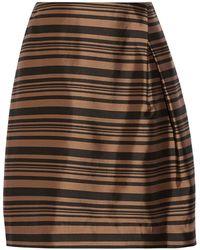 Raoul Stripe 'tulip' Side Pleat Skirt - Brown