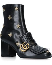 a3211bb90bc Lyst - Gucci 75mm Marmont Fringed Suede Ankle Boots in Black
