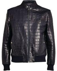 Yves Salomon Croc-embossed Leather Bomber Jacket - Blue