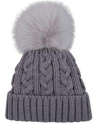 Harrods Fur Pom Pom Knitted Hat - Gray