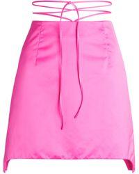 Helmut Lang Tie-detail Satin Mini Skirt - Pink