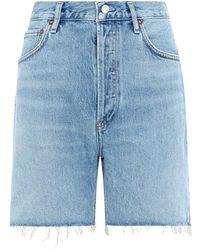 Agolde Rumi Denim Cut-off Shorts - Blue