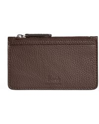 Harrods Leather Coin And Card Pouch - Brown