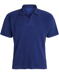 Homme Plissé Issey Miyake Pleated Polo Shirt - Blue