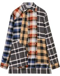 Loewe Upcycled Flannel Patchwork Check Shirt - Multicolour