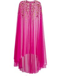 Marchesa notte Floral-embroidered Chiffon Cape - Pink
