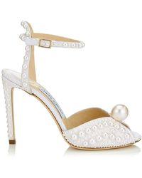 Jimmy Choo Sacora 100 Satin Pearl Sandals - White