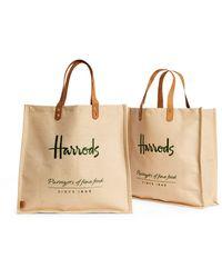 Harrods Food Halls Jute Bags (set Of 2) - Brown