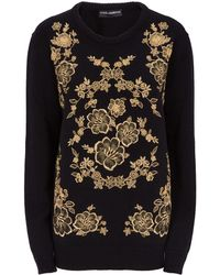 Dolce & Gabbana - Brocade Embroidery Cashmere Jumper - Lyst