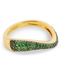 Kavant & Sharart Yellow Gold And Tsavorite Talay Flow Wave Ring (one Size) - Green