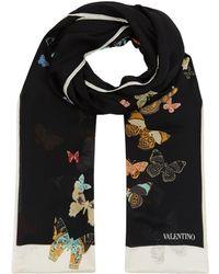 Valentino - Butterfly Silk Scarf - Lyst