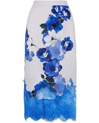 Costarellos - Floral Lace Organza Midi Skirt - Lyst