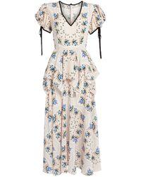 Rodarte Floral Peplum Midi Dress - Blue