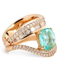 Kavant & Sharart Rose Gold, Diamond And Paraiba Tourmaline Talay Wave Ring (one Size) - White