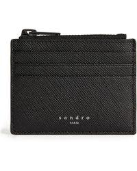 Sandro Saffiano Leather Zipped Card Holder - Black