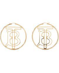 Burberry Gold-plated Tb Monogram Hoop Earrings - Metallic