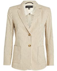 Weekend by Maxmara Cotton-linen Striped Blazer - Natural