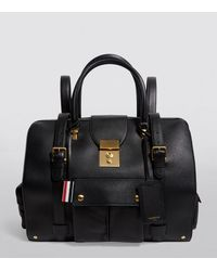 Thom Browne Grained Leather Holdall Backpack - Black