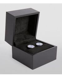 Giorgio Armani Sterling Silver Logo Cufflinks - Blue