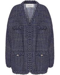 Valentino Tweed Coat - Blue
