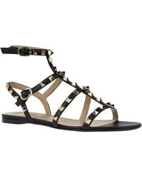 Valentino Garavani Leather Rockstud Gladiator Sandals - Black